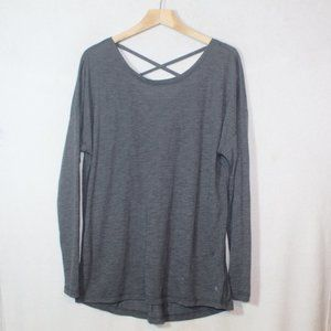 Xersion long sleeve gray criss cross casual tee L